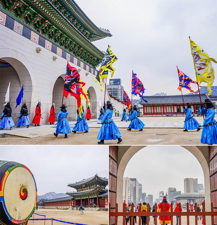 圖片) 舉行守門將換崗儀式的景福宮(上圖) / 從景福宮向外看的風景(下圖)