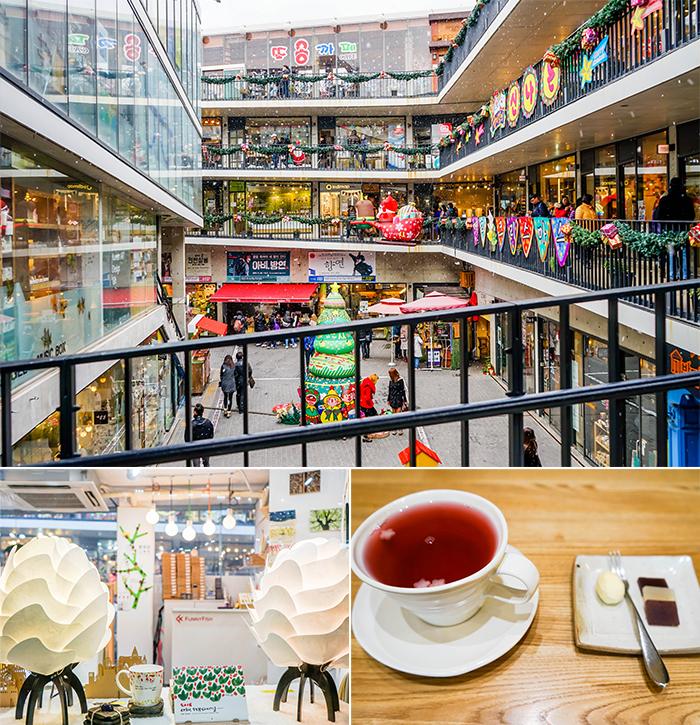圖片) 仁寺洞森吉街(上圖) /在森吉街展售的商品(左下圖) /五味子茶(右下圖)
