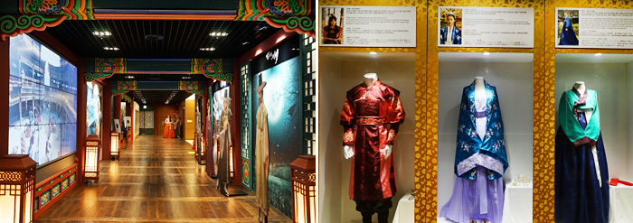 Historical Drama Center hallway (left) / Costumes displayed at the Historical Drama Center (right)