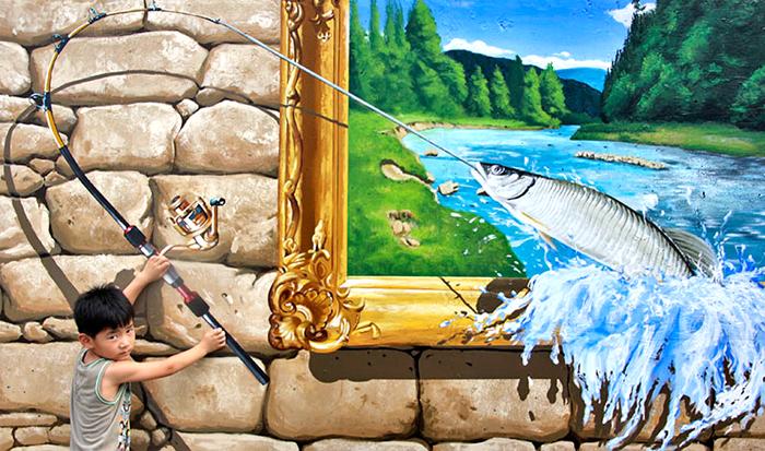Zone photo, pêche de poisson au festival Bonghwa (aut : Arrondissement de Gangjingun)
