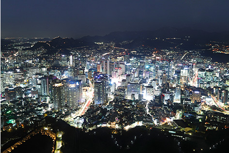 Seoul nightscape from Namsan Cable Car