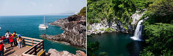 Crédits) Jusangjeolli (à gauche) / Cascade Cheonjeyeon (à droite)