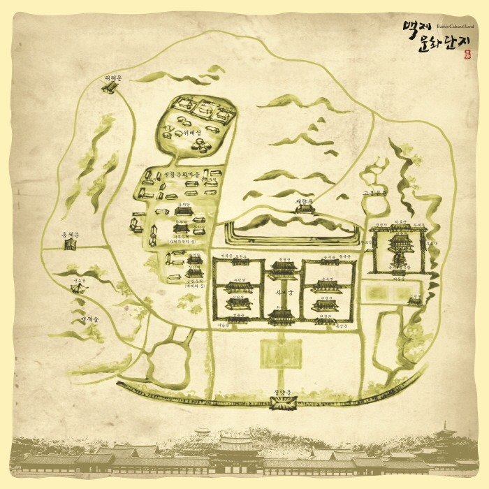 Handkerchief Printed with Antique Map of Baekje Cultural Land (Beige Color)