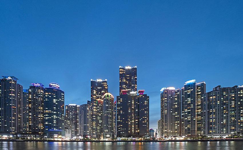 Vista nocturna de Marine City
