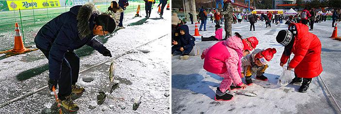 Capturando peces con la mano (arriba) / Pesca en el hielo (abajo). (Cortesía de la Fundación Nara, todas las fotos).