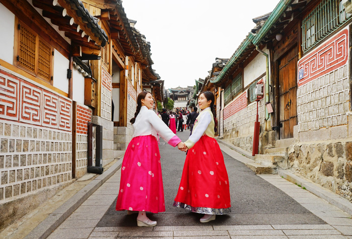 Image result for hanbok wearing in seoul