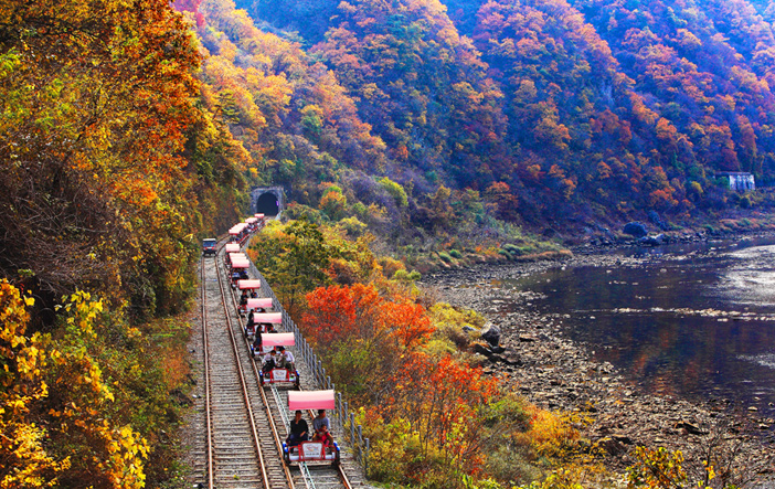 Rail bikes present the unique experience of pedaling along railways (Credit: Chuncheon-si)