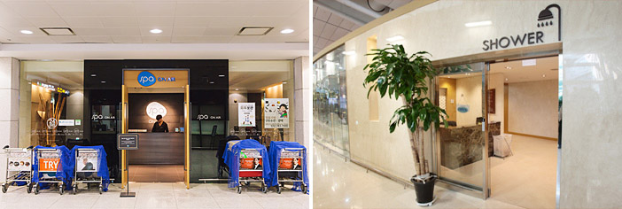 Салон SPA on Air и бесплатная душевая (снизу) (Источник: Walkerhill (сверху) и Международный аэропорт Инчхон (снизу справа))