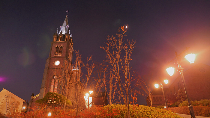 Myeong-dong Cathedral at night