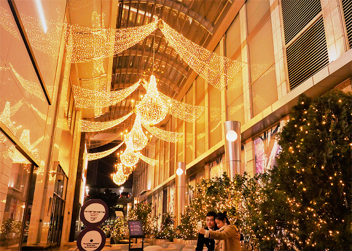 Christmas lights decorating Lotte Department Store