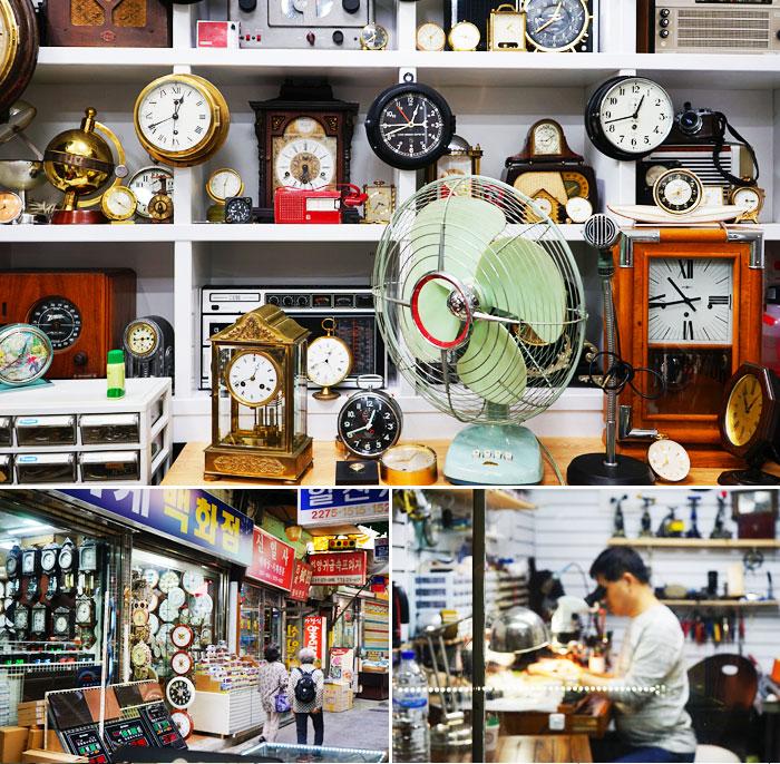 商店內的鐘錶琳瑯滿目(上圖) / 禮智洞鐘錶店(左下圖) / 正在修理鐘錶的匠人(右下圖)