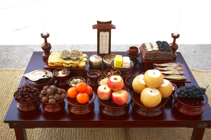 Charyesang (memorial service table) foods