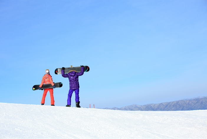 Snowboarders at Yongpyong Ski Resort