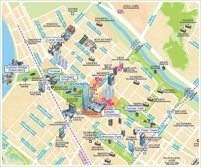 Points Of Interest recommendations Songdo map(Compact Smart City, Tri-bowl,Techno Park Get Pearl Tower, Michuhol Park, Songdo Convensia, NC Cube Canal Walk, Incheon Bridge Observatory, Sunrise Park, Songdo Miraegil)
