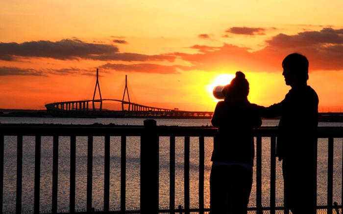 照片)仁川大桥展望台风景