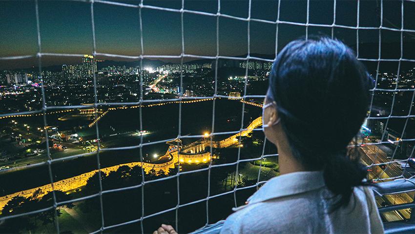 Vue de la forteresse et de Suwon/Hwaseong depuis la montgolfière