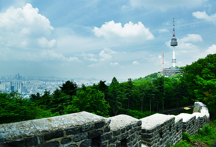 View of Namsan Seoul Tower and love locks