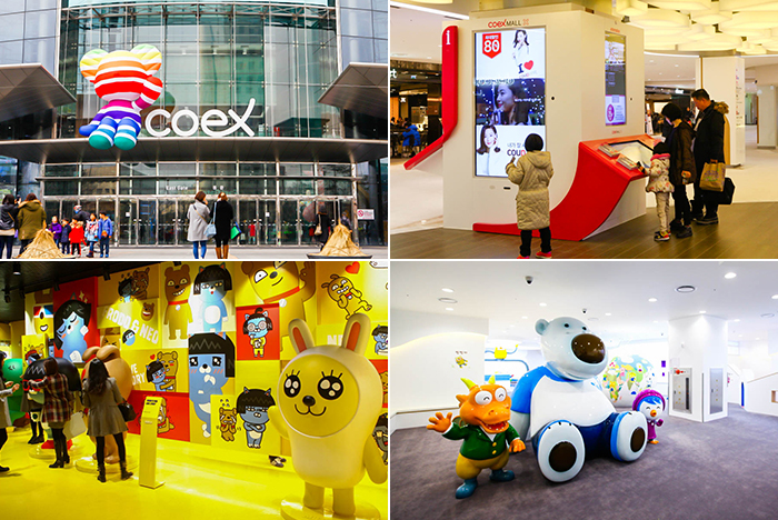 Photo: Main gate of COEX Mall (top left) / Inside view of COEX Mall (top right) / Kakao Friends Flagship Store in COEX Mall (bottom left) / Pororo Park Flagship Store (bottom right)