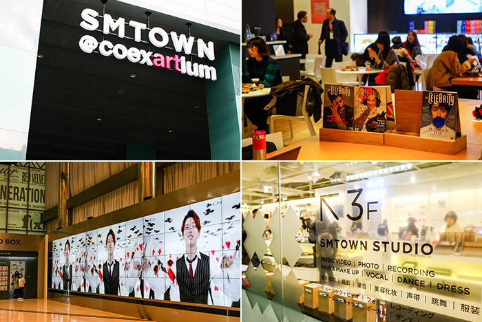 Photo: Exterior (top left) and interior views of SM TOWN@COEX Artium