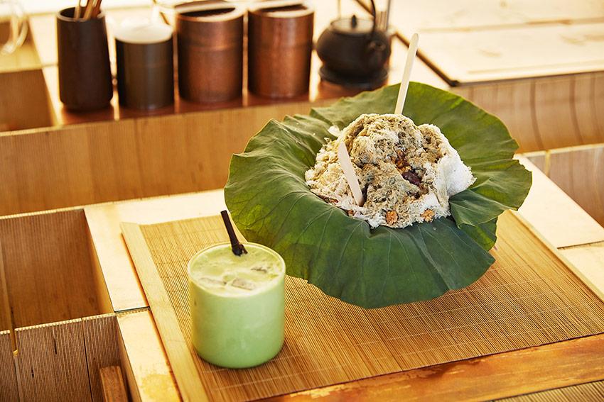 Le bingsu aux feuilles de lotus, café Eert