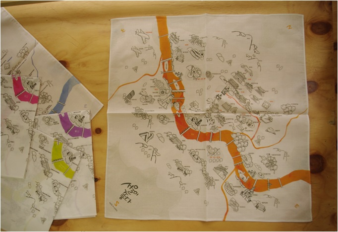 Handkerchief Printed with Tourist Map of Seoul