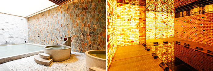 Views inside the water park (top) / Spa room interior (bottom) (Credit: Starfield Hanam)