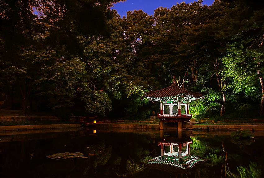 Estanque Aeryeonji y pabellón Aeryeonjeong (cortesía de la Administración de Patrimonios Culturales)