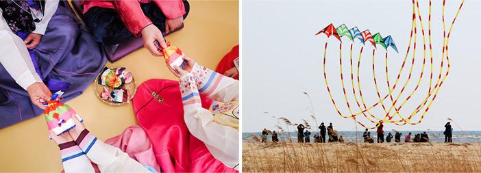Echange d'une petite dote 'Sebaet-don' durant Seollal (à gauche) / Activité du cerf-volant 'yeon nalligi' (à droite)