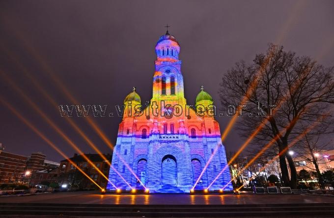 Lit Up Jeondong Catholic Cathedral