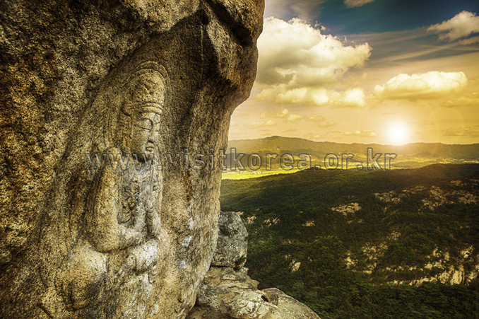 Rock-carved Bodhisattva at Sinseonam Hermitage in Namsan Mountain, Gyeongju
