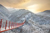 Morning at the Suspension Bridge in Gamaksan Mountain
