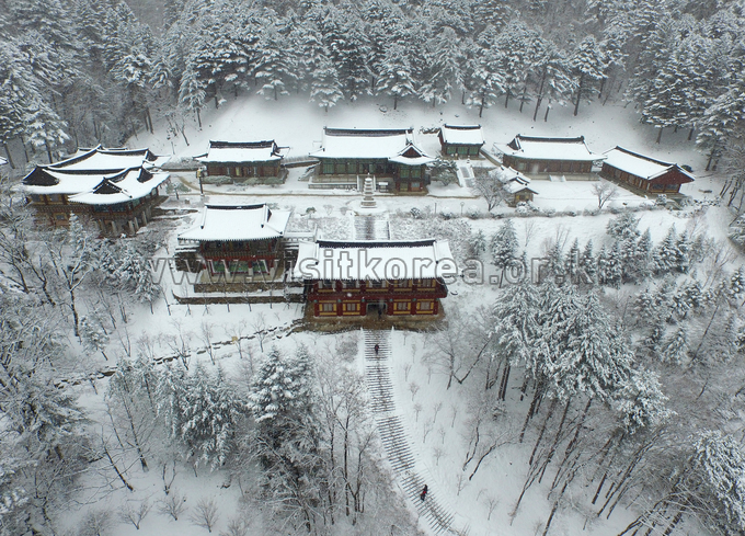 Sangwonsa Temple in the Snow-covered Odaesan Mountain