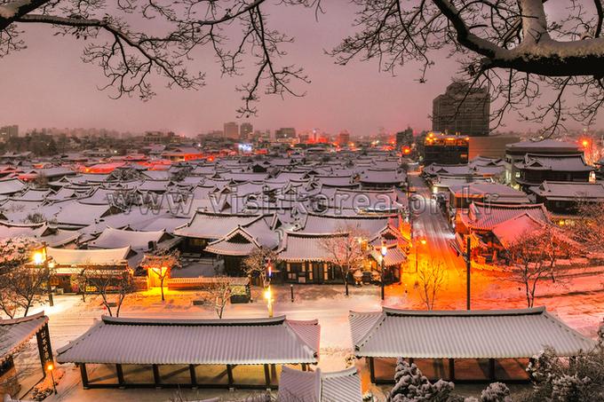 Hanok Village in Winter Dawn