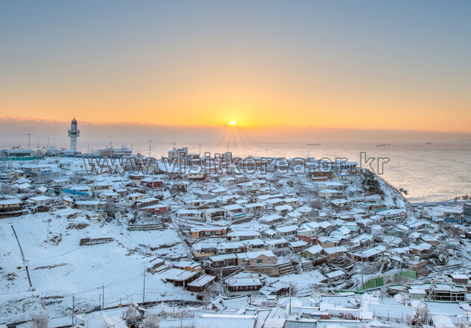 Serene Sunrise over the Snow-covered Mukhohang Port