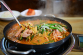 budae jjigae(Pot Luck Stew with Hot Dogs and Baked Beans)