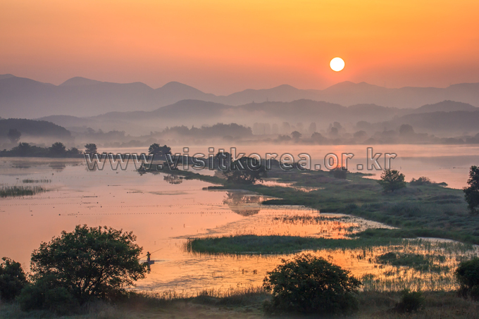 Sun Rising in Upo Wetland