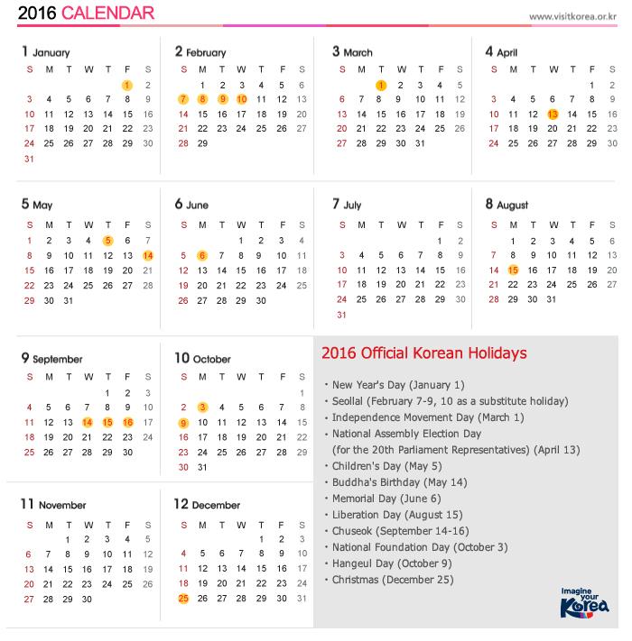 2016 Calendar Day Public Holidays