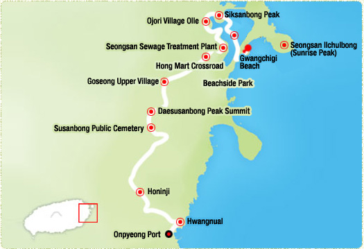 Gwangchigi Beach-> Tide Embankment Road -> Siksanbong Peak-> Ojori Village Olle (4.1km)-> Seongsan Sewage Treatment Plant (6.82km)-> Goseong Upper Village-> Daesusanbong Peak Summit (12.7km)-> Honinji (16.4km)-> Hwangnual (17km)-> Onpyeong Port