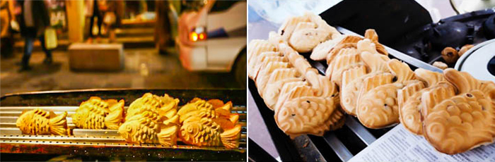 Photo: Stalls selling bungeoppang at Insa-dong Street (left) / Bungeoppang with red bean paste (right)