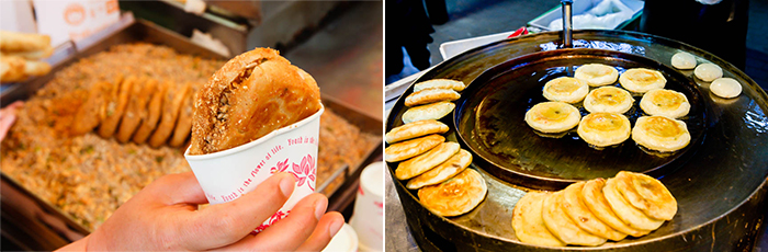Photo: Ssiat hotteok (seed-stuffed Korean-style pancake) (left) / Hotteok stall in Myeong-dong's (right)