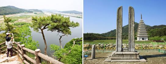 Nakhwaam Rock in Busosanseong Fortress (left) / Dangganjiju flagpole support of Mireuksaji temple in Iksan (right)