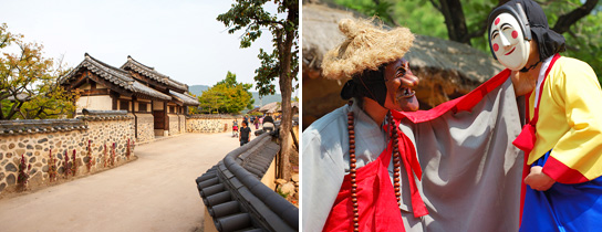 Andong Hahoe Folk Village (left) / Hahoe Mask Dance Drama Performance (Hahoe Byeolsingut Exorcism) (right)
