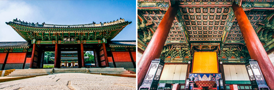 Photo: Injeongmun Gate (left) / Inside view of Injeongjeon Hall (right)