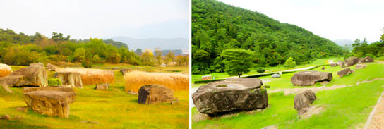 Photo: Gochang Dolmen Site (left) / Hwasun Dolmen Site (right)