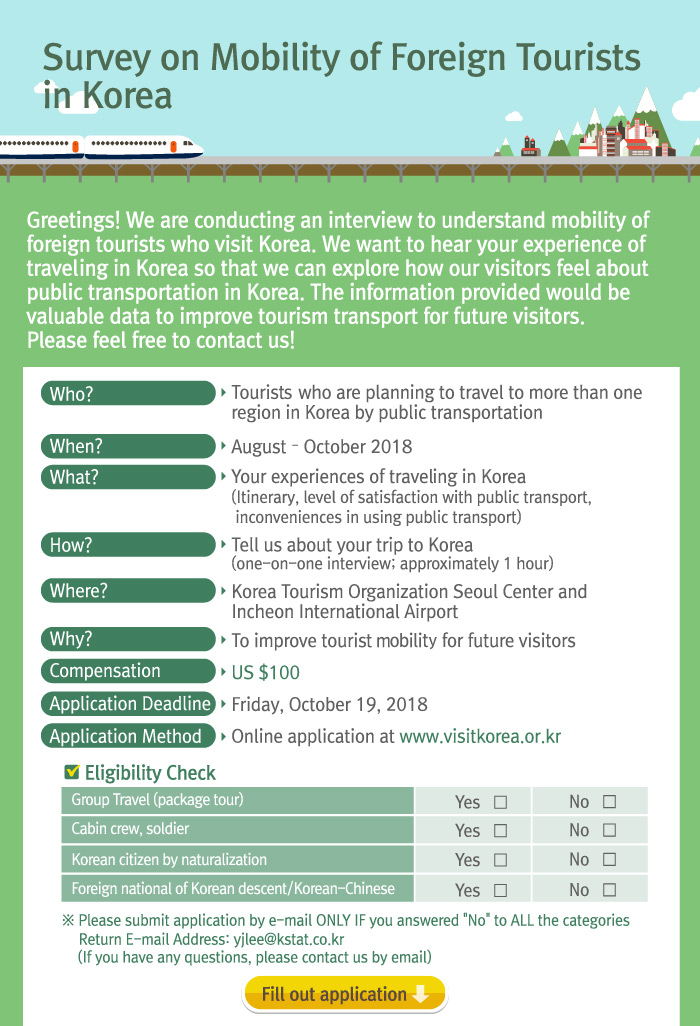 Survey on Mobility of Foreign Tourists in Korea