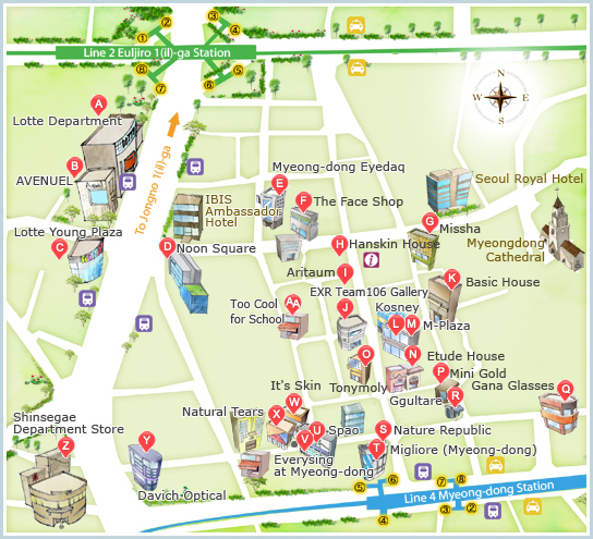 Myeong-dong map