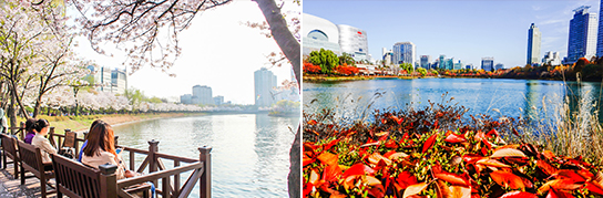 Photo:Seokchonhosu Lake in spring (left) & in autumn (right)