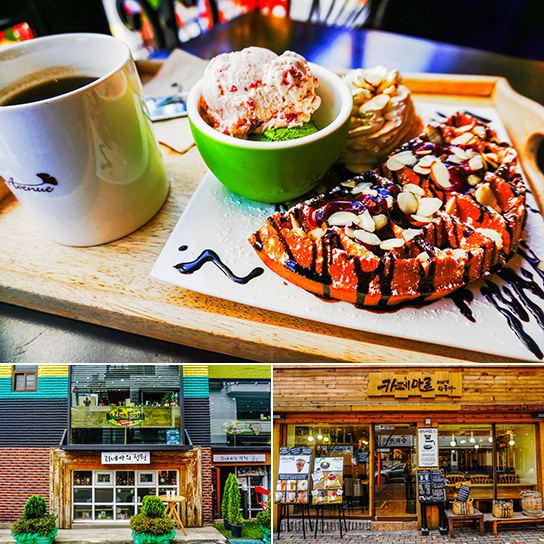 Photo:Brunch menu (top) / Cafes along Hapjeong-dong's Cafe Street (bottom)