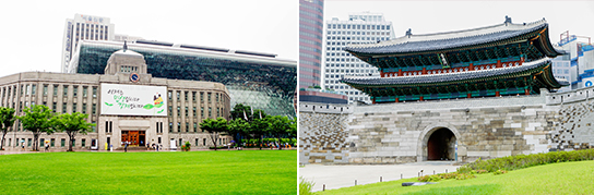 Photo: Seoul Plaza (left) / Sungnyemun Gate (right)