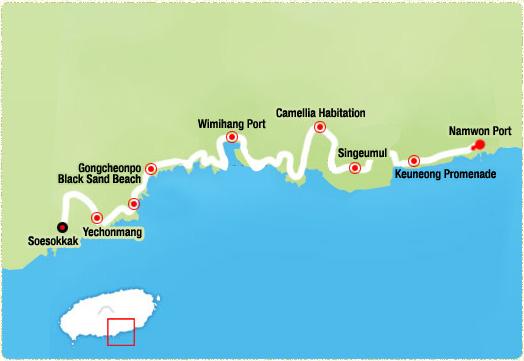 Namwon Port-> Keuneong Promenade (3km)-> Singeumul (4.7km)-> Camellia Habitation (6.5km)-> Wimihang Port-> Gongcheonpo Black Sand Beach (11km)-> Yechonmang (13km)-> Soesokkak
